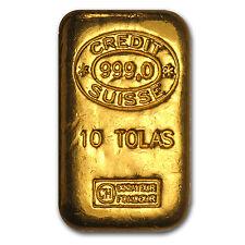 10 Tolas Gold Bar - Credit Suisse (3.75 oz) - SKU #57001