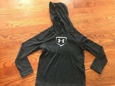Youth Boy Under Armour Loose Black Very Lightweight Athletic Hooded Shirt Yxs Xs