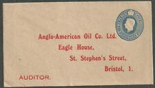21/2D George Vi Die Unused Env Pre Printed Address Anglo American Oil Bristol