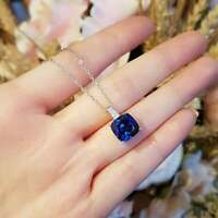 2.50Ct Cushion Cut Blue Sapphire Solitaire Pendant Solid 14K White Gold Finish
