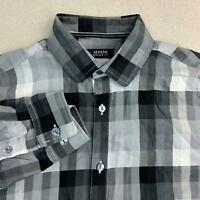 Alfani Button Up Shirt Mens S Black Gray Long Sleeve Regular Fit Flannel Plaid