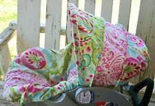 pink green paisley w/ pink and white damask infant Car Seat Cover and Hood Cover