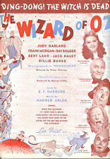 "WIZARD OF OZ Sheet Music ""Ding Dong Witch Is Dead"" Judy Garland ORIGINAL print"