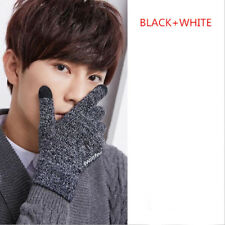 Men Male Winter Warm Fleece Lined Thermal Knitted Gloves Touchscreen Outdoor