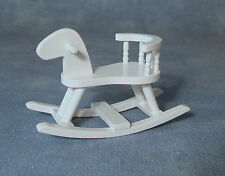 1:12 Scale White Wooden Rocking Horse Dolls House Miniature Nursery Accessory