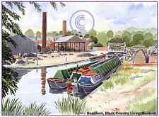 """BLACK COUNTRY MUSEUM CANAL DUDLEY WEST MIDS ARTISTS PRINT GREETINGS CARD 8""""x 6"""""""