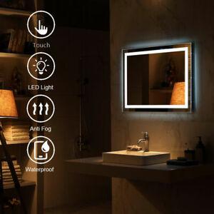 LED Bathroom Wall Mirror Illuminated Light Lamp Anti Fog Waterproof Touch Sensor