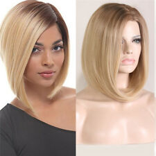 Women Blonde Brown Auburn Wavy Curly Straight Bob Medium Synthetic Full Wig
