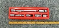 """SNAPON TOOLS 3/8"""" 6 PC EXTENSION & ADAPTER SET & HOLDER  USA"""