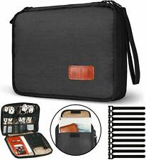 Travel Cable Organizer Bag Waterproof Electronic Accessories Soft Case with 10pc
