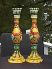 "Pair Tracy Porter Fruit Candlesticks 15"" Hand Painted EXC"