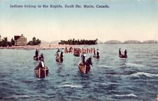 INDIANS FISHING IN THE RAPIDS. SAULT STE. MARIE ONTARIO CANADA 1936