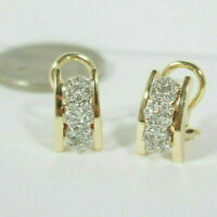 Solid 14K Yellow Gold Over 1.50Ct Round Cut Diamond Cluster Hoop/Huggie Earrings