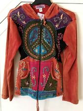 Nepal Orange Hippy Sweater, Pixie Hood Size S