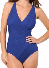 NWT New MIRACLESUIT Oceanus Tank Underwire One Piece Swimsuit Marine Blue 12 DD