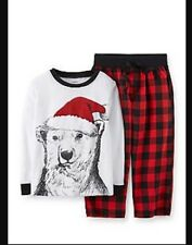 NEW Carter's Boys Christmas 2 Piece Pajamas PJ Toddler Plaid Polar Bear Santa