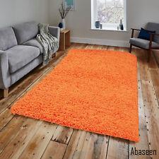 Orange Shaggy Rug 80 x 150 cm Plain Thick Soft high Pile 2ft6'' x 5ft