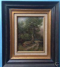 Impressionismus Ölgemälde Holzarbeiter Eichen-Wald Albert Wessels Rijssen-Holten