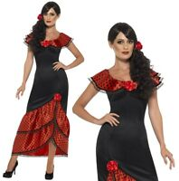 8-22 Flamenco Costume Spanish Mexican Rumba Ladies Fancy Dress Outfit Halloween