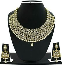 Indian Bollywood Fashion Weding Gold Tone Kundan Necklace Earrings Jewelry Set