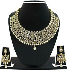 Indian Bollywood Fashion Weding Gold Tone Kundan Necklace Earrings Jewelry Set