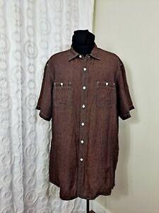 Cremieux Men Sz XL Chocolate Brown 100% linen Casual Shirt