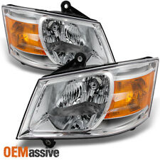 Fit 08-10 Dodge Grand Caravan Clear Replacement Left + Right Side Headlight Pair