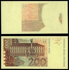ZE.135} CROATIA 200 kuna 1993 / Reverse trial print / UNC