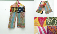 Cotton Kantha Scarf Vintage Head Wrap Stole Dupatta Hand Quilted Women Gypsy