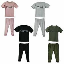 Childrens Girls Calvin Print Top Bottoms Tracksuit Lounge Wear 2 Pcs Co-ord Set