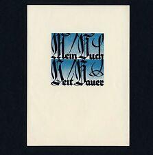 Exlibris Bookplate * FRANZ LEHRER * Schrift Fraktur Gothic Print Lettering