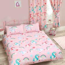 I Believe IN Unicorns Set Housse de Couette Double Literie Enfants Filles Rose