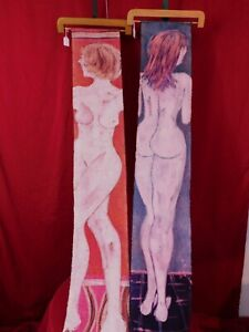 "Original Batik Art 2 Nudes Wall Hang Tapestry Style 58""L 9""W ea  Artist Signed"