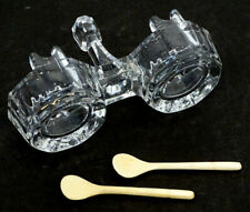 ANTIQUE Vintage EAPG Glass DOUBLE SALT DIP Dish Cellar & 2 CARVED BONE SPOON