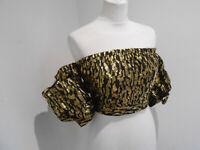 BNWT River Island black gold puff sleeve crop top UK 8 NEW animal print