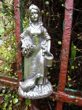 """Goose Girl vintage resin statue~figurine~7"""" tall~nice for planters or garden art"""
