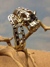 PANTHER COUGAR JAGUAR LEOPARD LION TIGER WOMENS GOLD BANGLE BRACELET w/ CRYSTALS