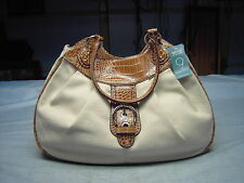 "NINE WEST Nat/Tobacco handbag  with handle straps 12""X 16""X 4"""