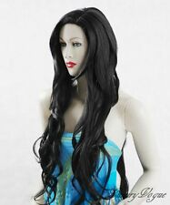 "40"" extra long Hand Made Black Wavy Wigs Kanekalon Synthetic Hair Perruque 84#2"