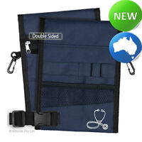 Nursing Pouch-13 Pocket Double Sided, Zip, Belt, Embroidery, Nurse - Navy 03