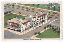 Villa D'Este Hotel Miami Florida linen postcard