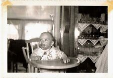 1953 Old Vintage Antique Photograph Little Baby in High Chair With Messy Face