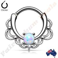 316L S Steel Lacey Silver Plated Septum Ring Clicker with Single White Opal
