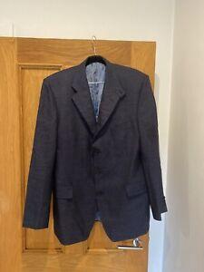 Men's HOLLAND & HOLLAND LONDON Blue Silk & Wool Blazer Jacket Size 42