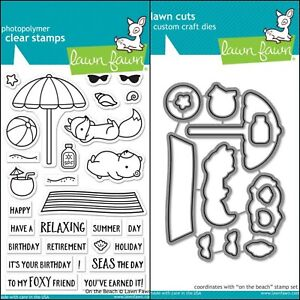 """Lawn Fawn """"ON THE BEACH"""" Clear Stamps Only OR Stamp and Die Bundle"""