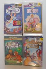 Cinderella Dumbo Fox & Hound Sleeping Beauty Vhs Disney Videos Sealed Lot Nos