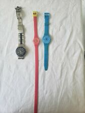 Vintage Swatch Watch Lot Pink, Yellow, Blue, Irony