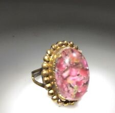 1960's Pink Murano Glass Stone Gold Tone DESIGNER Kim Craftsmen Ring