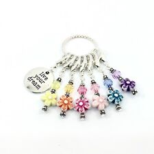 STITCH MARKERS CROCHET KNITTING Handmade Set of 6 Flower Beads Multi Colour Gift