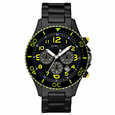 NEW MARC JACOBS GUNMETAL,SMOKE TONE S/STEEL ROCK CHRONO+LIME WATCH-MBM5026